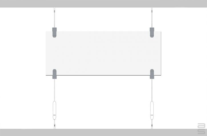 Tensioned Ceiling Tracks - Covid-19 Protection Kit - Hanging System for Plexiglass / Glass