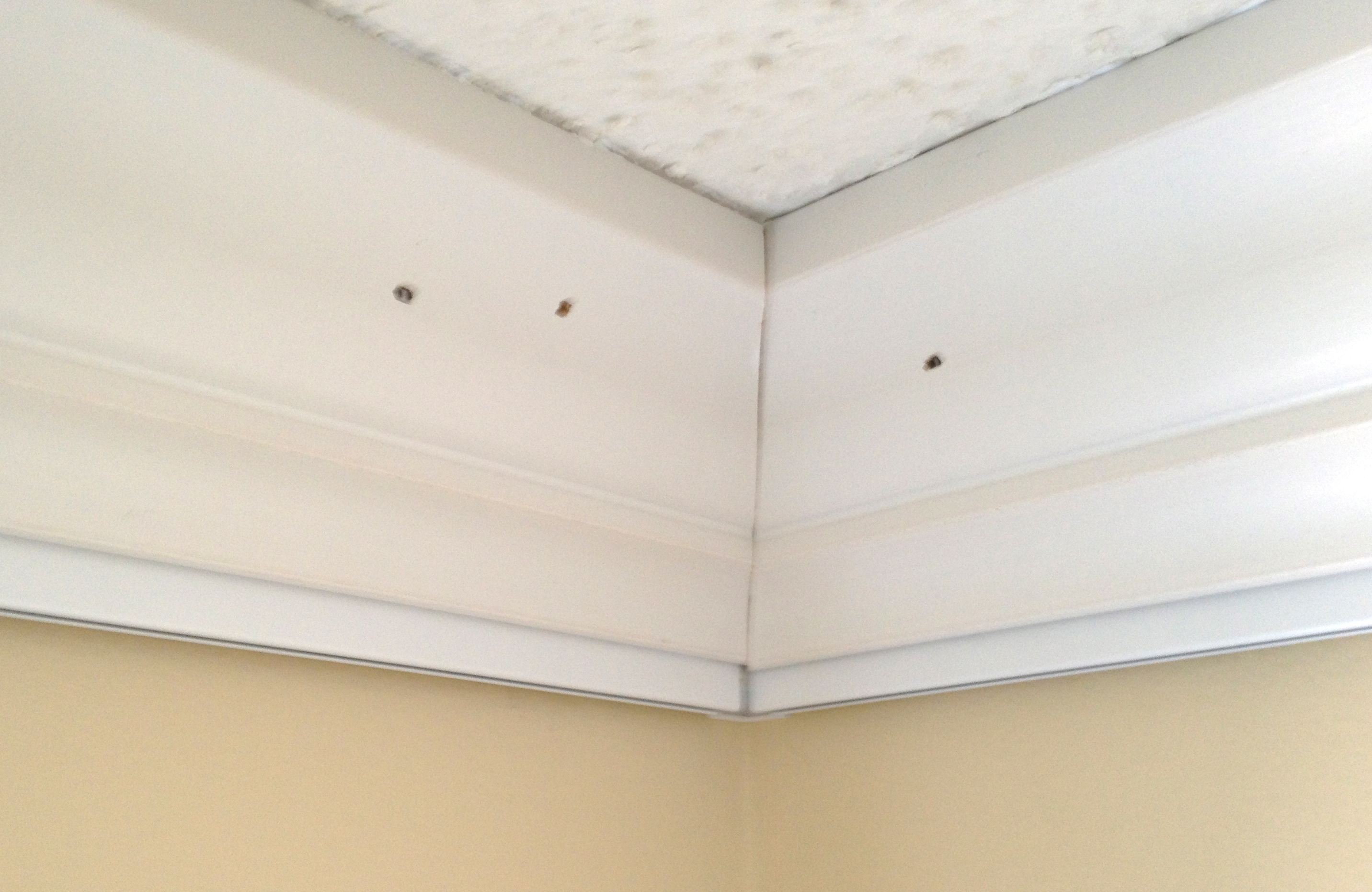 Caulk holes and seams between crown molding and Click Rail Track by AS Hanging Systems to prevent cracking.