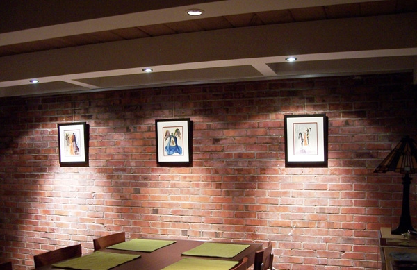 Hanging art on brick walls in a residential setting.