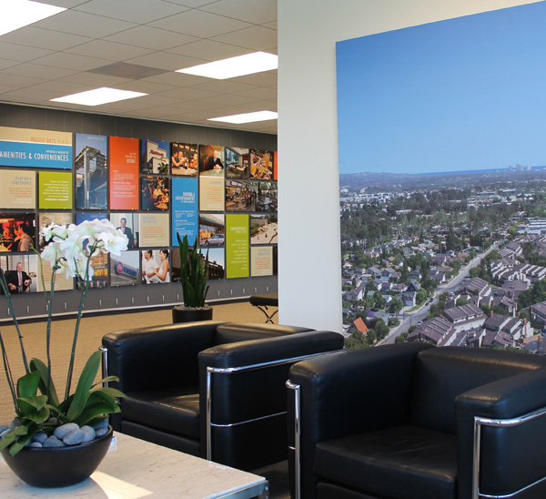 Casual reception space at Irvine Company Leasing Office in Orange County, CA.
