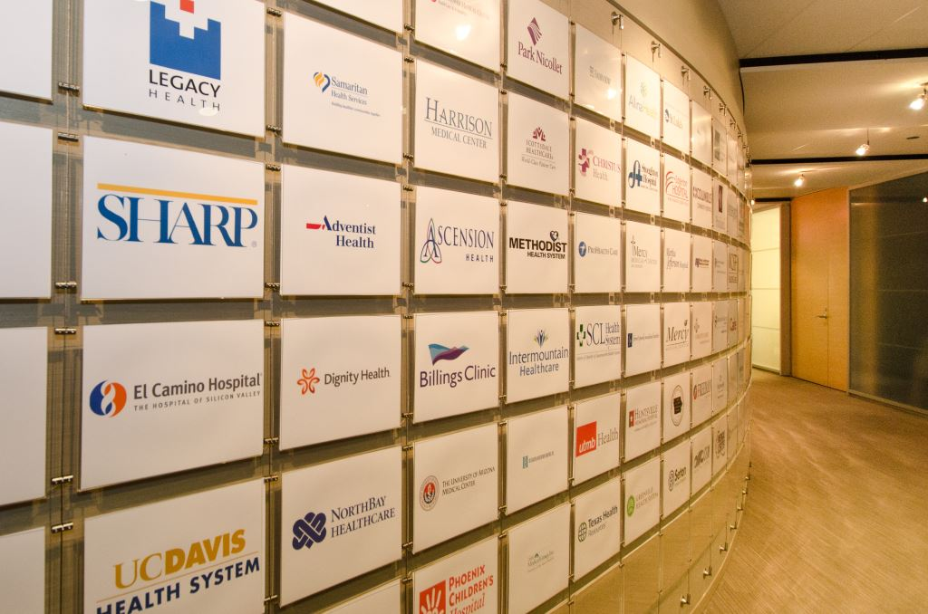 AS Hanging Display Systems Creates Corporate Branding Wall