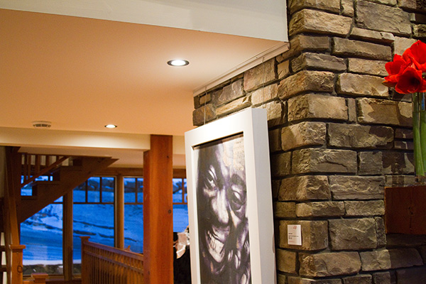 Cable System by AS Hanging Systems on stacked stone wall.