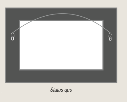Rear view of standard hang wire on picture frame by AS Hanging Display Systems