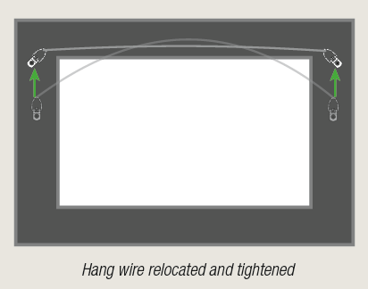 Framed art with properly positioned and tightened hang wire by AS Hanging Display Systems.
