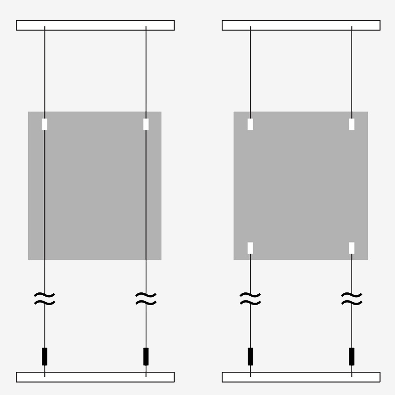 Tensioned Cables (left) compared to Tensioned Frame (right) to accommodate Seismic Energy