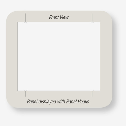 Panel displayed with Panel Hooks by AS Hanging Display Systems.