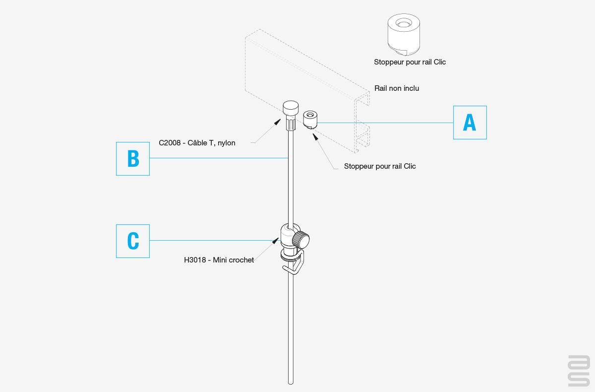 Spécifications kit de fil pour rail en angle